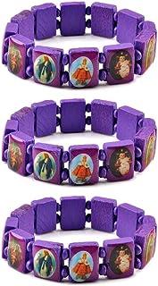 yantu 3 Pcs Religious Wooden Bracelet Jesus Bracelet Saints Rosary Bangles Elastic Stretch Small Panel Wooden Bracelet