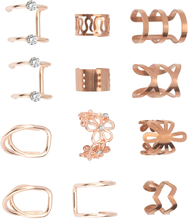 Cecillia Ear Cuff Earring Non Piercing Helix Cartilage Clip On Wrap Earrings Adjustable Stainless Steel Fake Ear Cuffs for Women Men