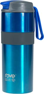 Rove Two Tone Double Wall Stainless Steel Vacuum Insulated Leak Proof Travel Mug with Extra Drinking Lid- Cancun Collection, 24 Ounce Blue