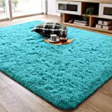 Soft Fluffy Area Rug for Living Room Bedroom, 4x6 Teal Blue Plush Shag Rugs with Non-Slip Backing, Fuzzy Shaggy Accent Carpets for Kids Girls Rooms, Modern Apartment Nursery Dorm Indoor Furry Decor