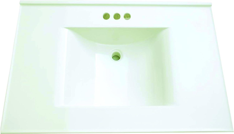 Premier Faucet 261348 Cultured Marble Vanity Top, 22 X 37, White