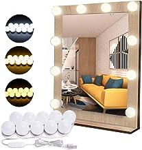 Flybiz DIY Vanity Lights Strip Kit, USB Kabel Hollywood Make-up Spiegellampen met 10 Dimbare Lampen, 3 Kleurmodi & 10 Held...