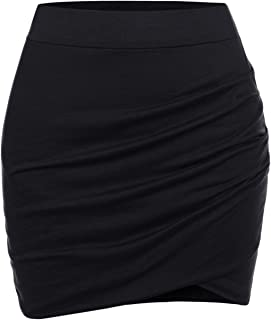 NEARKIN Womens Stretchy Waistband Shirring Fitted Mini Skirt