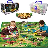 Dinosaur Toy Figure Activity Play-Mat — Educational Realistic Dinosaur Toys for Boys playset with mat, Include T-Rex, Triceratops, Velociraptor, Trees, for Boy & Girl 3,4,5,6,7,8 Years Old(Large)