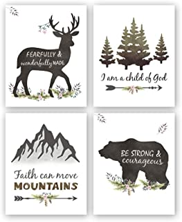 "Kairne Woodland Inspirational Quote Art Print,Forest Animals Bible Verse Canvas Poster Picture,Set of 4(8""x10"",Unframed) Watercolor Nursery Wall Art for Boys Kids Room Decor"