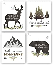 """Kairne Woodland Inspirational Quote Art Print,Forest Animals Bible Verse Canvas Poster Picture,Set of 4(8""""x10"""",Unframed) Watercolor Nursery Wall Art for Kids Room Decor"""