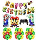 Cumpleaños Super Mario Decoracion Globos Mario Bros Globos de Aluminio Mario Bros Feliz Cumpleaños Bandera Fiesta de Super Mario Para Cumpleaños de Niños