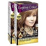 Eugène Color - Color & Eclat - Les Naturelles - N°21 Blond Clair Cuivré - Coloration Permanente brillance Longue Durée à l'Huile d'Argan - Lot de 2