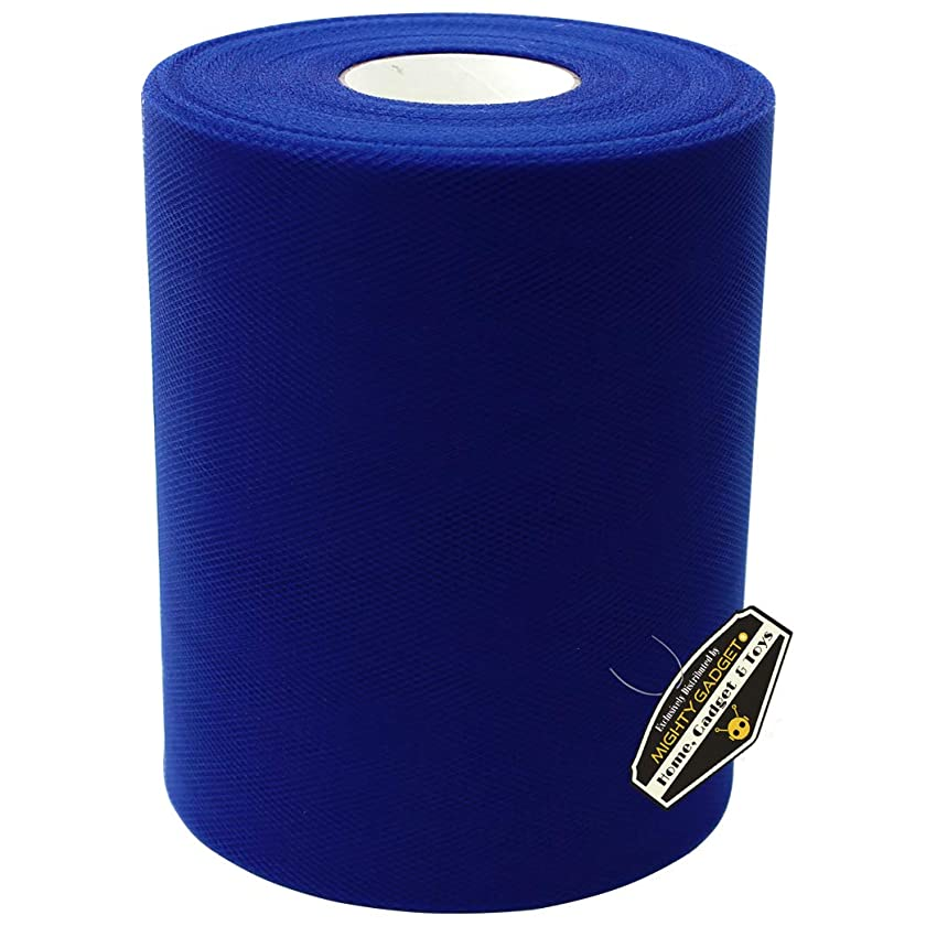 Mighty Gadget Brand Large Tulle Fabric Spool 6 inch x 100 Yards (300 feet) for Wedding and Decoration (Royal Blue)
