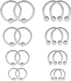 8PRS(16PCS) 14G Surgical Steel Horseshoe & Captive Bead Nose Hoop Septum Earring Eyebrow Tongue Lip Nipple Helix Tragus Piercing Rings 6-12mm
