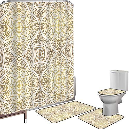 Duschvorhang Set Badezimmerzubehör Teppich Gold Mandala Badematte Contour Teppich Teppichbezug Viktorianische Mandala-Motive gekräuselte klassische ethnische orientalische Fliesen-Kontur dekorativ,Gol