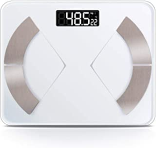 Báscula electrónica para el suelo de la grasa corporal, báscula inteligente para el baño, báscula de peso corporal inteligente para la grasa digital, pesas Bluetooth, equilibrio conectar color blanco