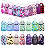 Hand Sanitizer Holders, Caffox 50pcs Empty Travel Size Bottle Keychain Holders Set with 25pcs Reusable Bottles Clear Travel Bottles and 25pcs Keychain Holders for Backpack and Purse