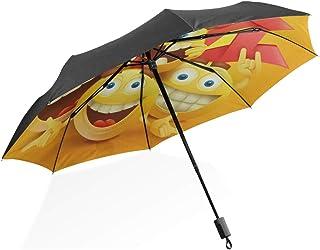 InterestPrint Smiley Jaune Emoji Visages Personnages CE Qui la Rend Selfie Pliable Portable ext/érieur Voyage Parapluie Compact 109,2/cm