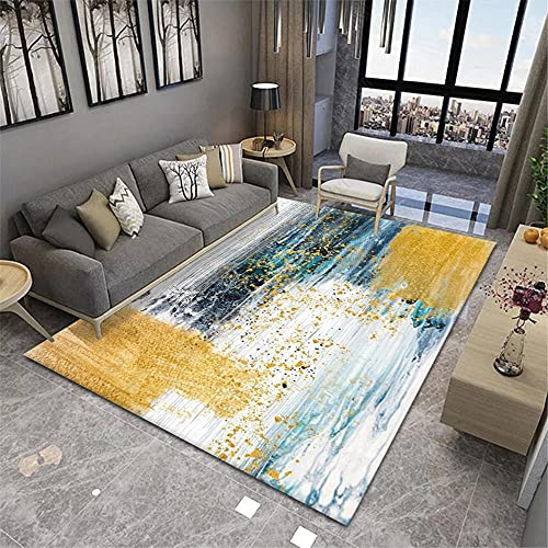 alfombras Pasillo,Alfombra Amarilla, patrón de Tinta, Sencillo, Conveniente, Lavado de Agua, Alfombra Transpirable ,alfombras para pasillos Largos -Amarillo_200x230cm
