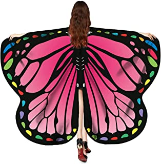 FEOYA Women Girls Soft Fabric Butterfly Wings Halloween Shawl Fairy Ladies Nymph Pixie Costume Accessory
