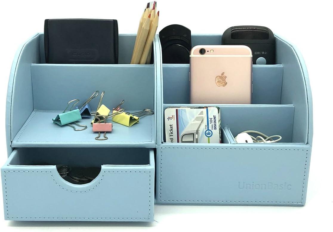 matite cellulare per biglietti da visita Organizer da scrivania multifunzionale in pelle PU UnionBasic penne cancelleria Blu
