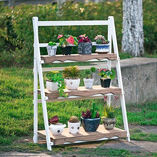 YAHAO Escalera para Macetas Exterior Plantas Soporte Decorativo para Jardín con 3 Niveles Escalera...