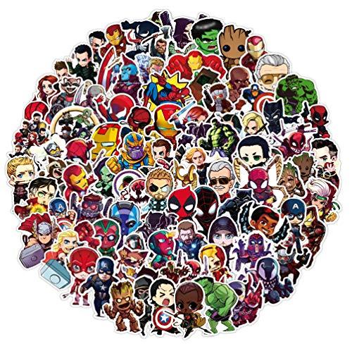 NAVK 100 Stück Superheld Sticker Set - Aufkleber Deko für Auto Laptop Skateboard Fahrrad Moped Motorrad, Spiderman Batman Ironman Hulk, , Geeignet für Erwachsene Kinder