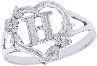 CaliRoseJewelry Silver Initial Alphabet Personalized Heart Ring - Letter H