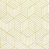 """White and Gold Geometry Stripped Hexagon Peel and Stick Wallpaper Gold Stripes Wallpaper White Paper Removable Self Adhesive Vinyl Film Decorative Shelf Drawer Liner Roll 78.7""""x17.7"""""""