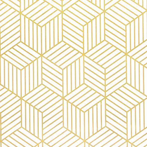Weiß und Geometrische Streifen des Golden Sechsecks Tapete Selbstklebende Gold Streifen Kontaktpapier Wanddeko Gestreift Moderne Wandverkleidung Folie Möbelfolie Küchen Wohnzimmer Vinyl 45 x 200 cm