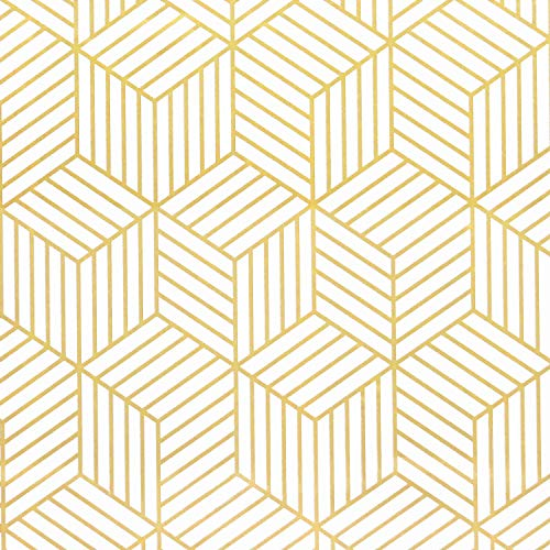 "White and Gold Geometry Stripped Hexagon Peel and Stick Wallpaper Gold Stripes Wallpaper White Contact Paper Removable Self Adhesive Vinyl Film Decorative Shelf Drawer Liner Roll 78.7""x17.7"""