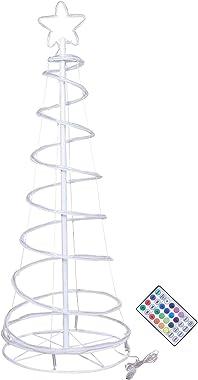 Árbol De Navidad Artificial De Abeto Noble Preiluminado Con 230 Puntas, 24 Luces De Fibra Óptica / LED Preprogramadas, Árbol