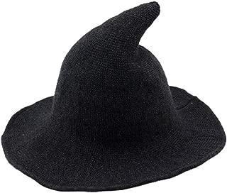 Halloween Wool Witch Hat Wide Brim Foldable Pointed Cap Headwear Fancy Costume