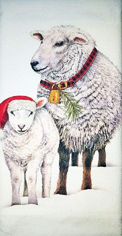 Mary Lake Thompson Christmas Winter Farm Sheep Kitchen Dish Towel