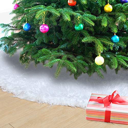 Naler Falda Árbol Navidad Alfombra Blanca Redonda