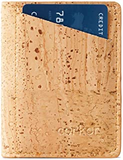 محفظة كوركور رفيعة للرجال RFID   مواد نباتية غير جلدية   بطاقات ثنائية الطي وجيب للعملات المعدنية النقدية بني فاتح