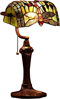 Bieye L10058 Dragonfly Tiffany Style Stained Glass Banker Table Lamp with 10-inch Wide Lampshade and Zinc Base for Reading Working Desk (Green)