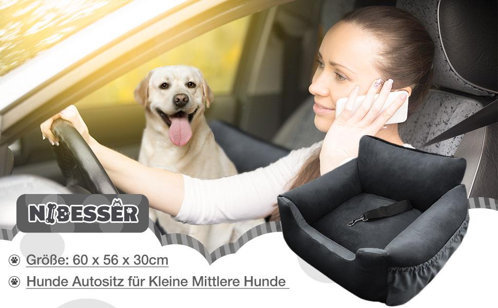 61hKE lLC+L NIBESSER 2-in-1 Autositz und Bett für Hunde, wasserfest und rutschfest, Sitzerhöhung für Katzen, Abnehmbarer Bezug und…