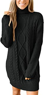 For G and PL Women's Cable Knit Turtleneck Sweater Dress