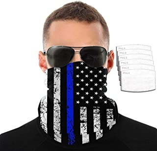 QSMX Multi-Purpose Neck Gaiter Bandanas with Safety Carbon Filters Face Cover for Women Men
