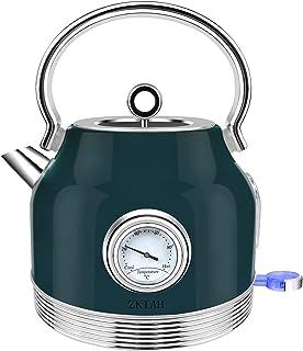 ZKIAH Bouilloire électrique,1,7 L Rétro Acier Inoxydable Revêtement Bouilloire avec Thermomètre,Filtre Amovible Arrêt Auto...