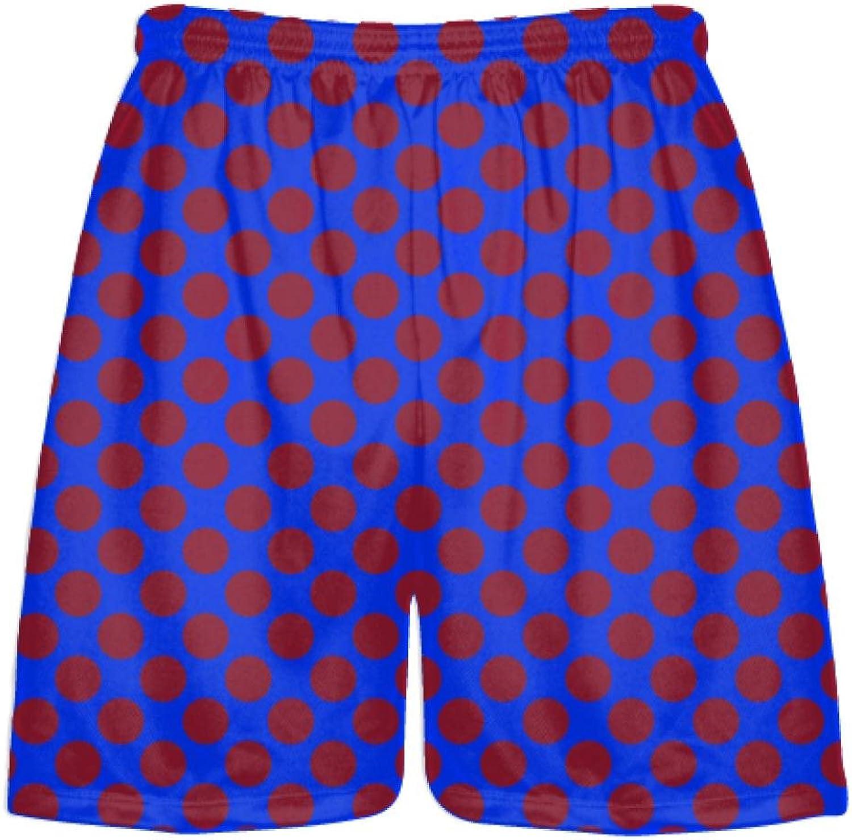 LightningWear Royal blueee Cardinal Red Polka Dot Shorts  Athletic Shorts Pockets  Youth Adult Shorts
