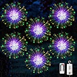 6 pack Firework Lights, Starburst Lights LED Copper Wire Fireworks Lights Fairy Lights Christmas Fireworks Hanging Dimmable String 8 Modes Waterproof with Remote Control for Christmas Wedding Garden