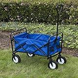ARKSEN Collapsible Folding Utility Wagon Garden Cart Shopping Beach (Blue)