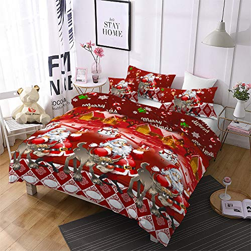 Cartoon Merry Christmas Duvet Cover Queen Santa Claus Bedding,Soft and Warm Reversible Santa Claus Deer Pattern Printed Duvet Cover Soft Microfiber Red Christmas Bedding Set