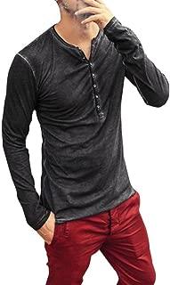 iLXHD Men Autumn Casual Vintage Long Sleeve V-Neck T-Shirt Top Blouse
