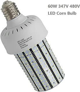 LED Corn Bulb,60W(347V,480V,AC277-500 Volt Input),Replace 250Watt Metal Halide HID,CFL,HPS Using in Parking Lot Wall Packs Retrofit E39 Mogul Base,8700LM,6000K (60)