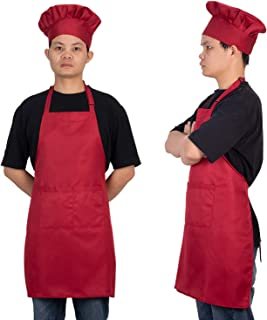 Homsolver Adjustable Bib Chef Apron Set, Chef Hat and Kitchen Apron Adult White Apron with Butcher Hat for Men & Women, White (Red)