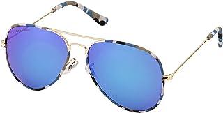 Sky Vision Aviator Sunglasses for Women, Blue Lens, 2683