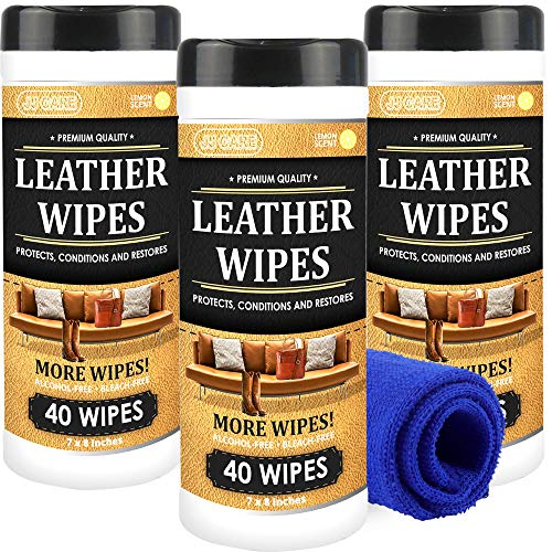JJ CARE Leather Wipes for Car Seats [Pack of 120] Leather Cleaning Wipes + Free Microfiber Cloth, Leather Car Seat Cleaner, Leather Wipes for Couch, Car Interior, Furniture, Shoes and Purses