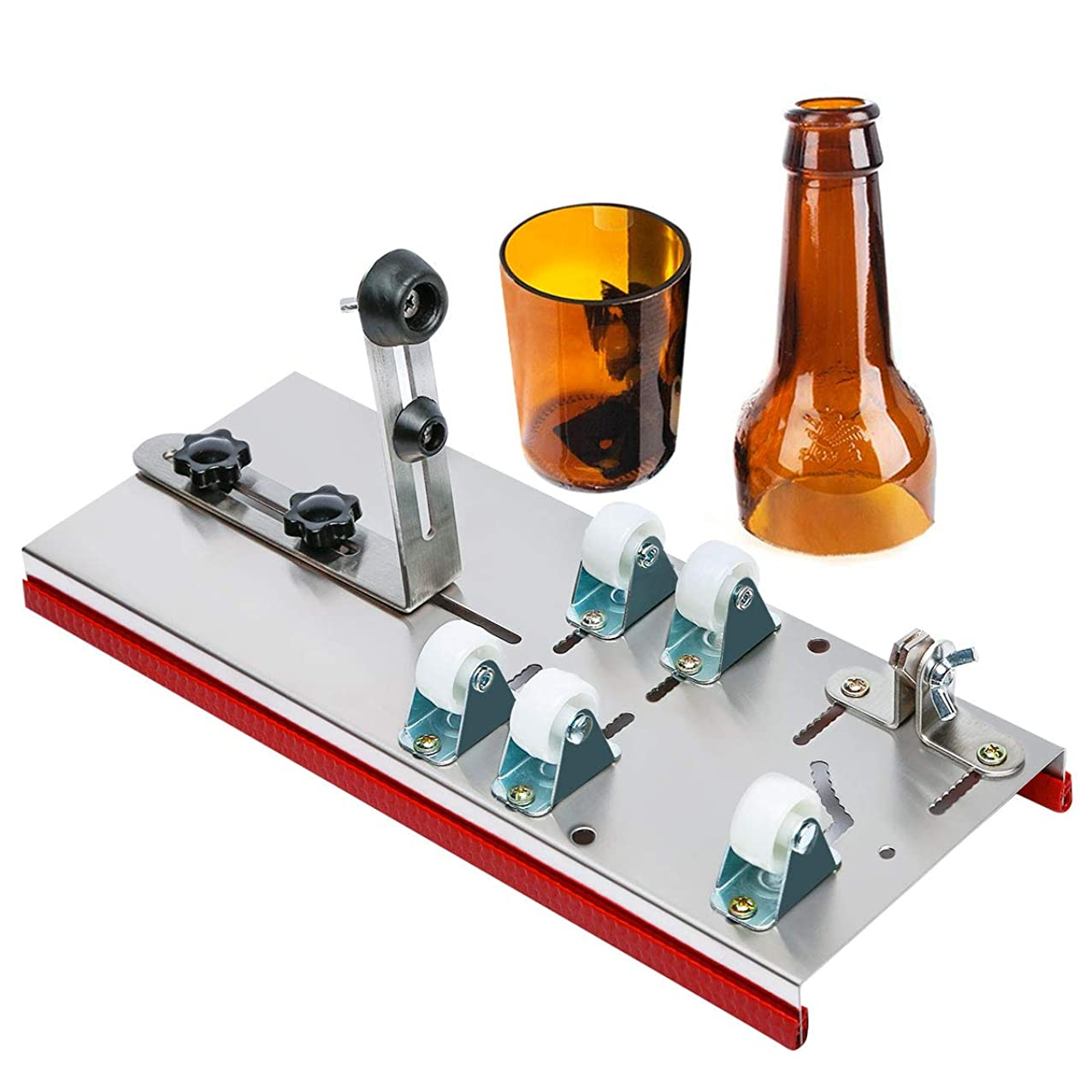 Glass Bottle Cutter, ZOMOM DIY Cutting Machine Wine Bottle Cutting Tool Adjust Full Sized Bottle Cutter for Home Decor DIY Creating Wine Bottle Lamp, Wine Bottle Decorations (Stainless Steel)