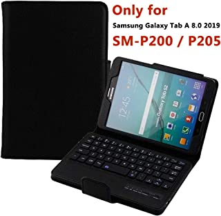 Keyboard Case for Samsung Galaxy Tab A 8.0 2019 (SM-P200/P205), Detachable Smart Auto Wake/Sleep Wireless Bluetooth Keyboard Folio Stand Case Cover for Samsung Tab A 8.0 2019 with S Pen Tablet Black