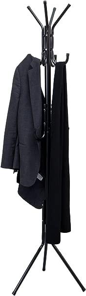 Mind Reader Standing Metal Coat Rack Hat Hanger 11 Hook For Jacket Purse Scarf Rack Umbrella Tree Stand Black