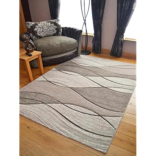 Impulse Taupe Beige Wave Thick Quality Modern Carved Rugs Runner Small Extra Large Soft (160cm